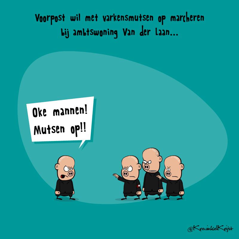 Voorpost-Protesteert-met-Varkensmuts-cartoon-KrewinkelKrijst